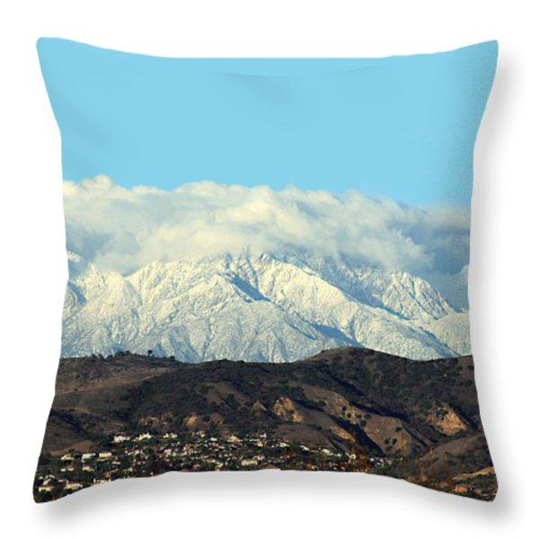 Snowy Mountains Throw Pillow by Ellen Henneke