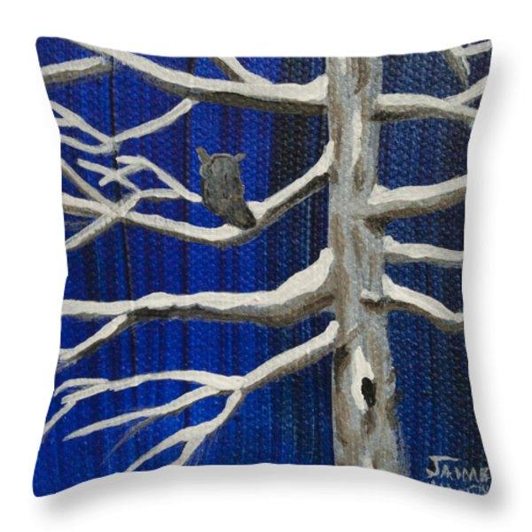 Snowy Night Throw Pillow by Jaime Haney