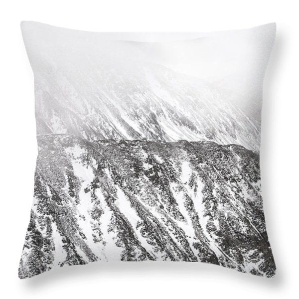 Snowy Ridge Abstract Throw Pillow by Aaron Spong
