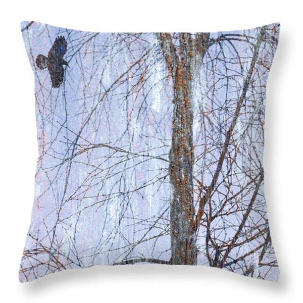 Snowy Tree Throw Pillow by Carol Leigh