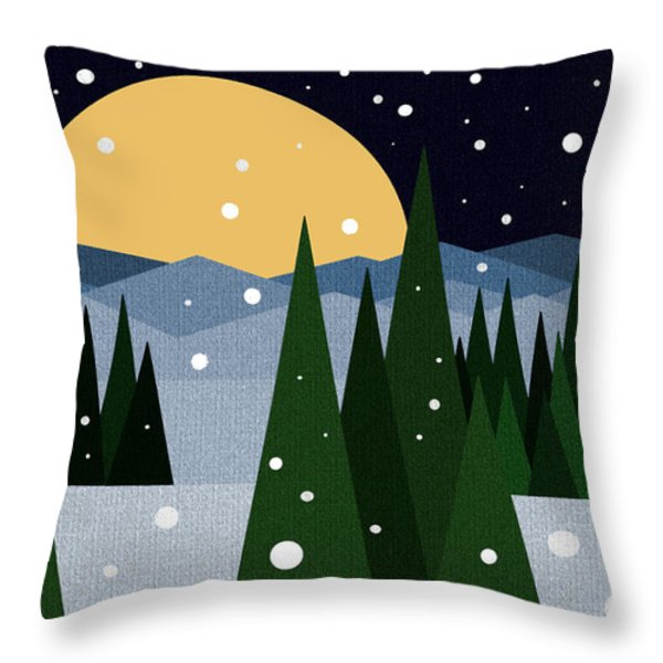 Snowy Winter Night Throw Pillow by Val Arie