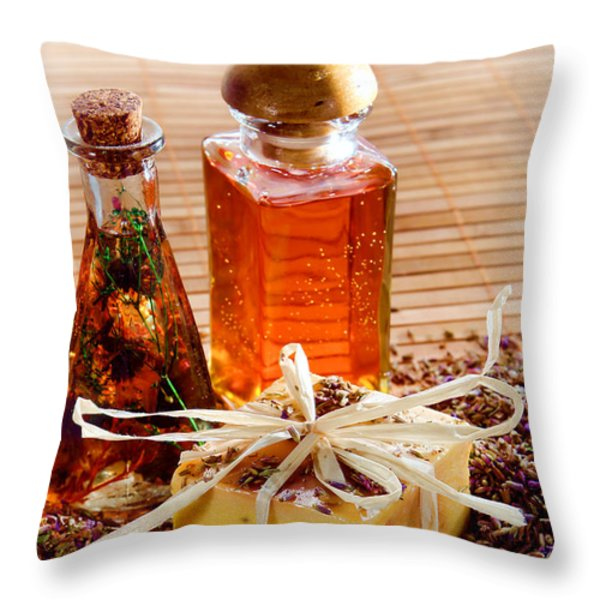 Soap And Fragrance Oils Throw Pillow by Olivier Le Queinec