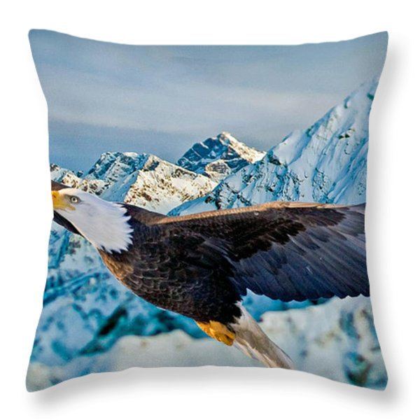 Soaring Bald Eagle Throw Pillow by Gary Keesler