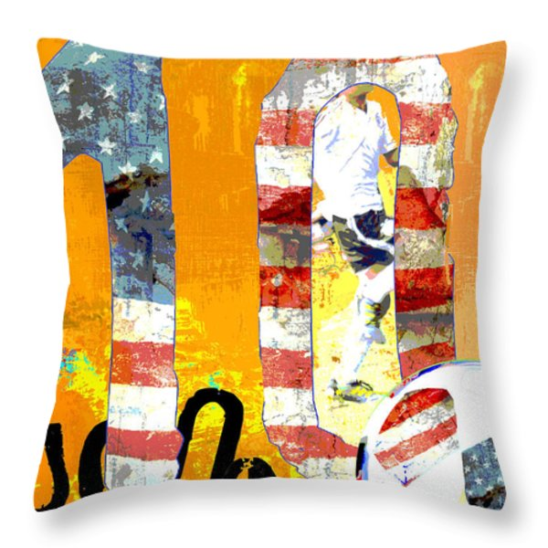 Soccer Americana Wall Decor Throw Pillow by Adspice Studios