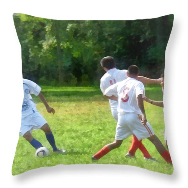 Soccer Ball In Play Throw Pillow by Susan Savad