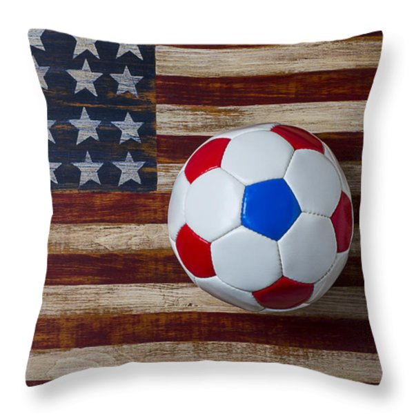 Soccer Ball On American Flag Throw Pillow by Garry Gay