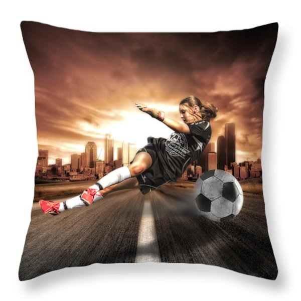 Soccer Girl Throw Pillow by Erik Brede