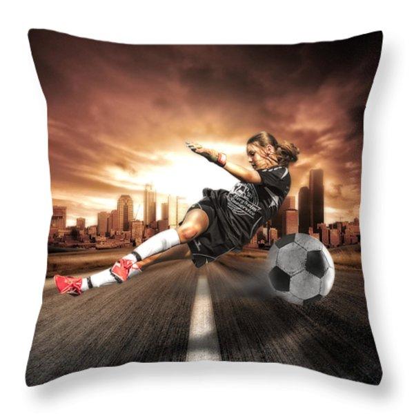 Soccer Girl Throw Pillow by Erik Brede