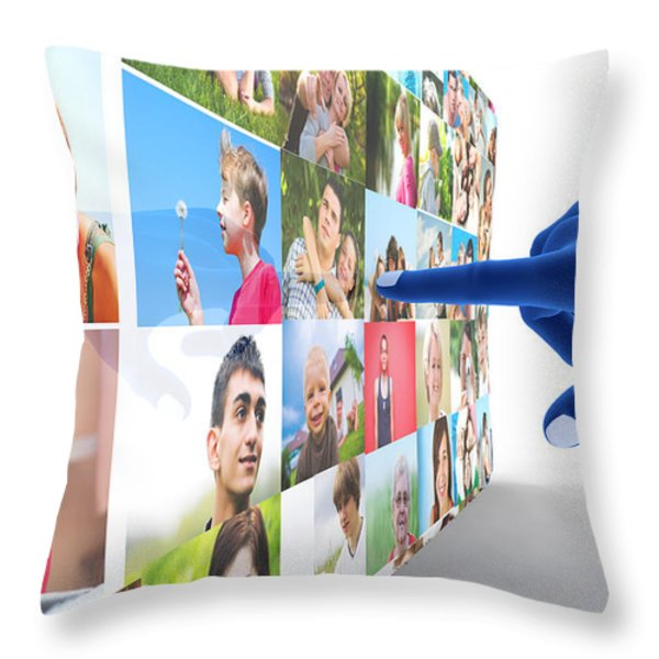 Social Media Network Throw Pillow by Michal Bednarek