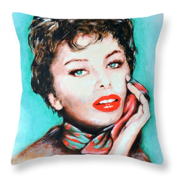 Sofia Loren Throw Pillow by Victor Minca