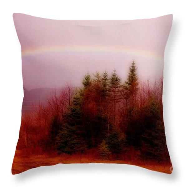 Soft Cape Breton Rainbow Throw Pillow by John Malone