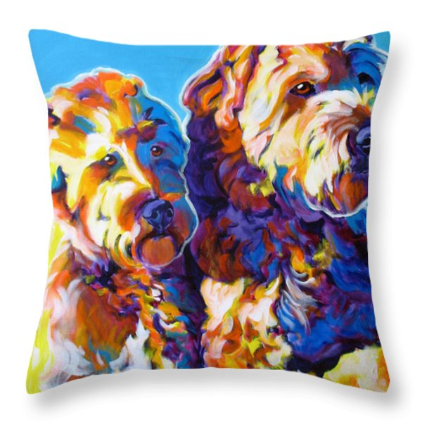 Soft Coated Wheaten Terrier - Max And Maggie Throw Pillow by Alicia VanNoy Call
