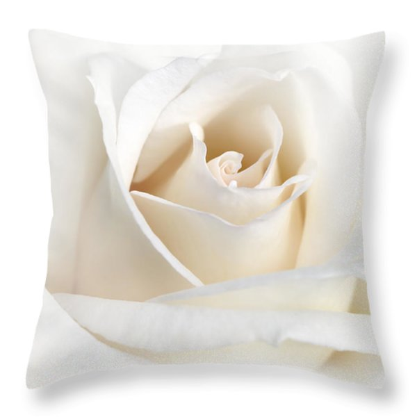 Soft Ivory Rose Flower Throw Pillow by Jennie Marie Schell