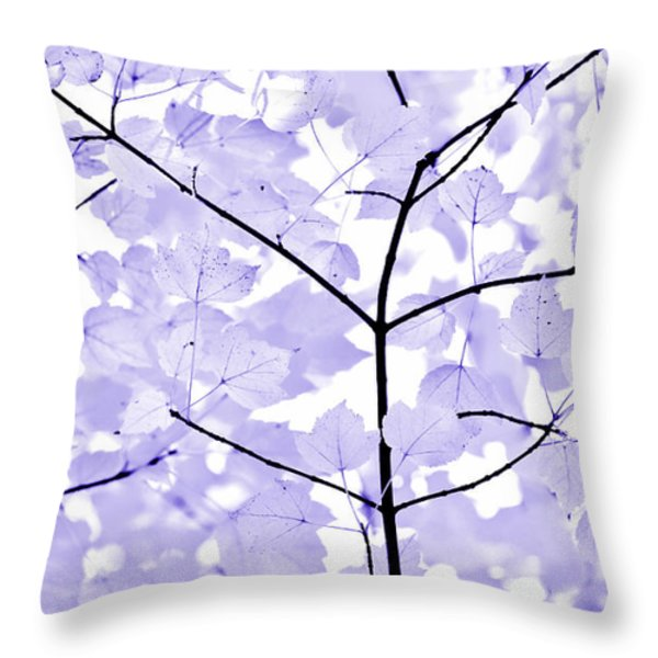 Soft Lavender Leaves Melody Throw Pillow by Jennie Marie Schell
