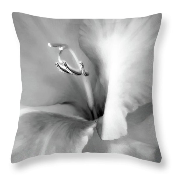 Soft Silver Gladiola Floral Throw Pillow by Jennie Marie Schell