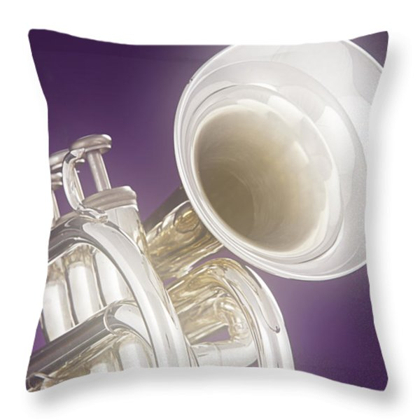 Soft Trumpet On Purple Throw Pillow by M K  Miller