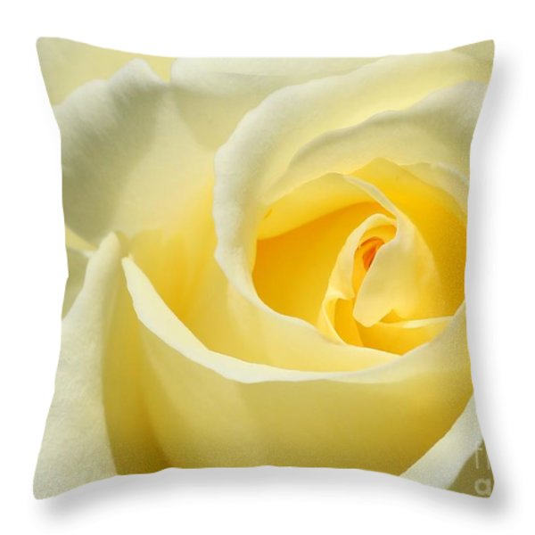 Soft Yellow Rose Throw Pillow by Sabrina L Ryan