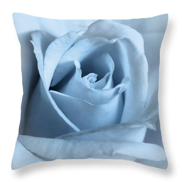 Softness Of A Blue Rose Flower Throw Pillow by Jennie Marie Schell