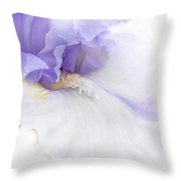 Softness of a Lavender Iris Flower Throw Pillow by Jennie Marie Schell