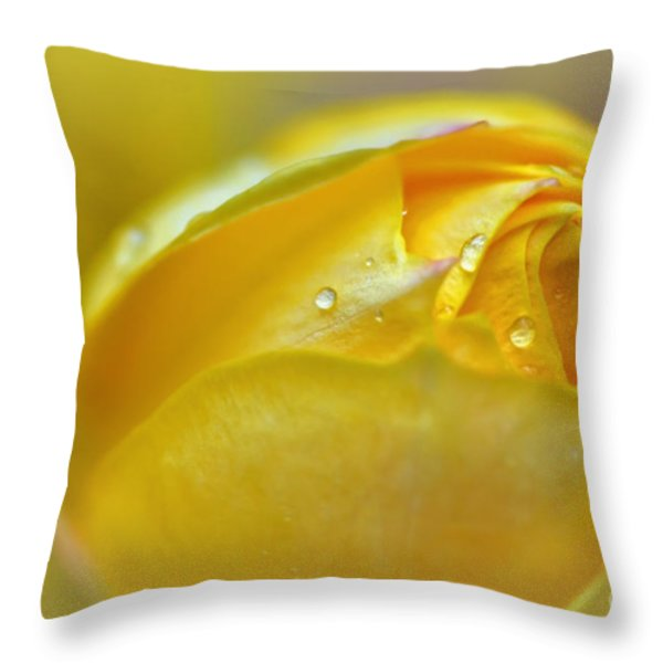 Softness Of A Miniature Rose In Yellow Throw Pillow by Kaye Menner