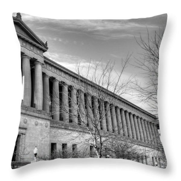 Soldier Field in Black and White Throw Pillow by David Bearden