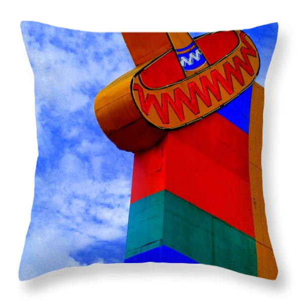 Sombrero Sign Throw Pillow by Randall Weidner