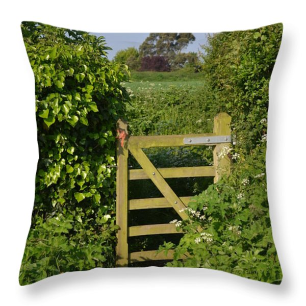 Somerset Countryside Gate Uk Throw Pillow by Rene Triay Photography