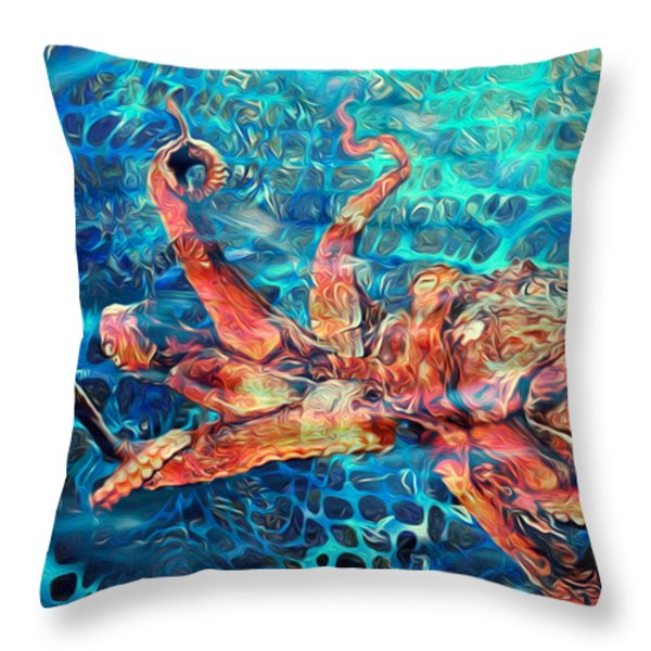 Somethins In The Net Throw Pillow by Jack Zulli