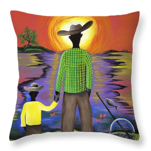 Son Raise Throw Pillow by Patricia Sabree