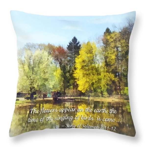 Song of Solomon 2 11-12 -  The flowers appear  Throw Pillow by Susan Savad