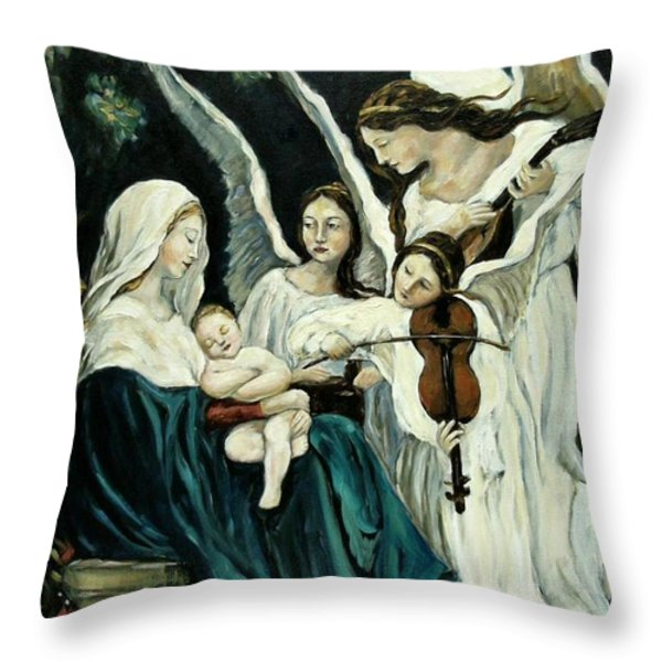 Song Of The Angels Throw Pillow by Carrie Joy Byrnes
