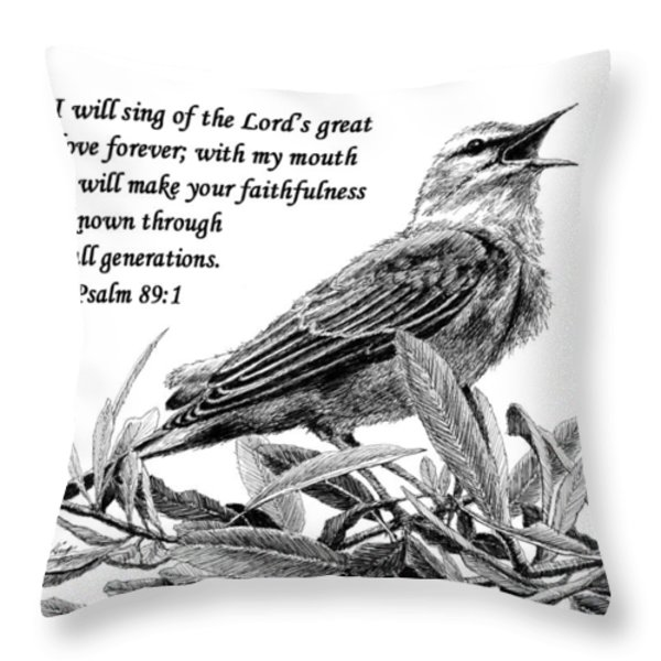 Songbird Drawing With Scripture Throw Pillow by Janet King