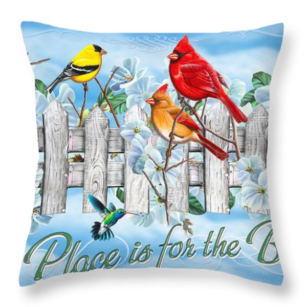 Songbirds Fence Throw Pillow by JQ Licensing