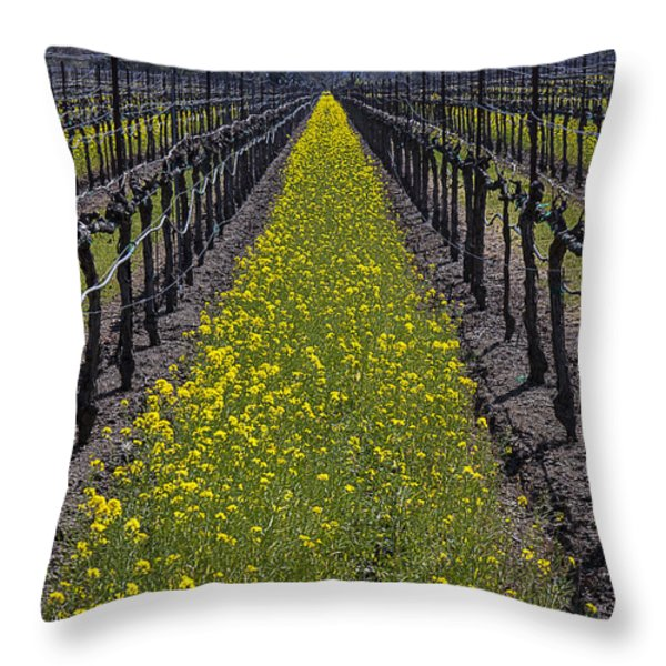 Sonoma Mustard Grass Throw Pillow by Garry Gay