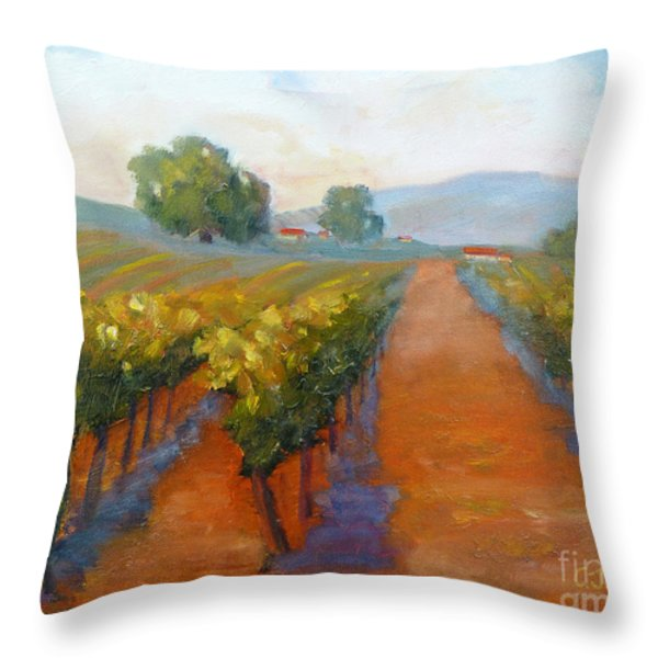 Sonoma Vineyard Throw Pillow by Carolyn Jarvis