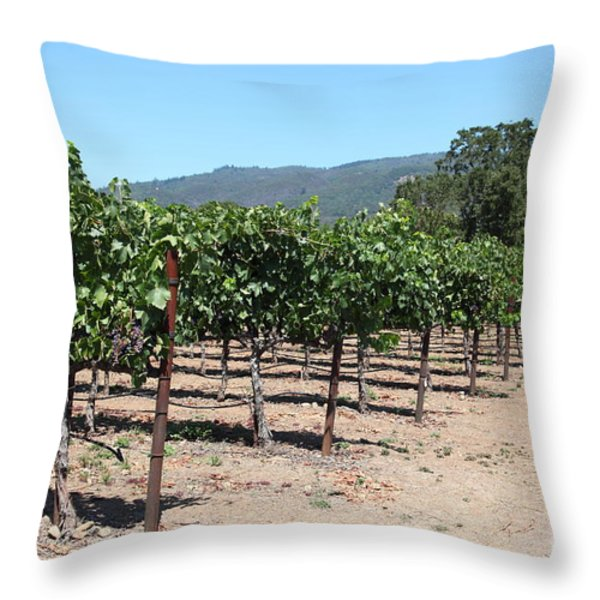 Sonoma Vineyards In The Sonoma California Wine Country 5D24492 Throw Pillow by Wingsdomain Art and Photography