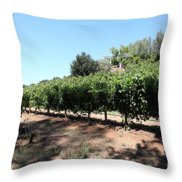 Sonoma Vineyards In The Sonoma California Wine Country 5D24499 Throw Pillow by Wingsdomain Art and Photography