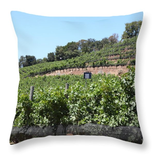 Sonoma Vineyards In The Sonoma California Wine Country 5D24503 Throw Pillow by Wingsdomain Art and Photography