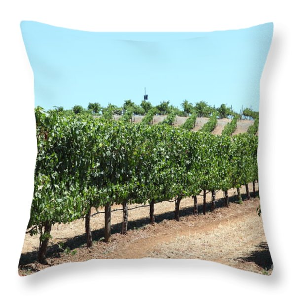 Sonoma Vineyards In The Sonoma California Wine Country 5d24506 Throw Pillow by Wingsdomain Art and Photography