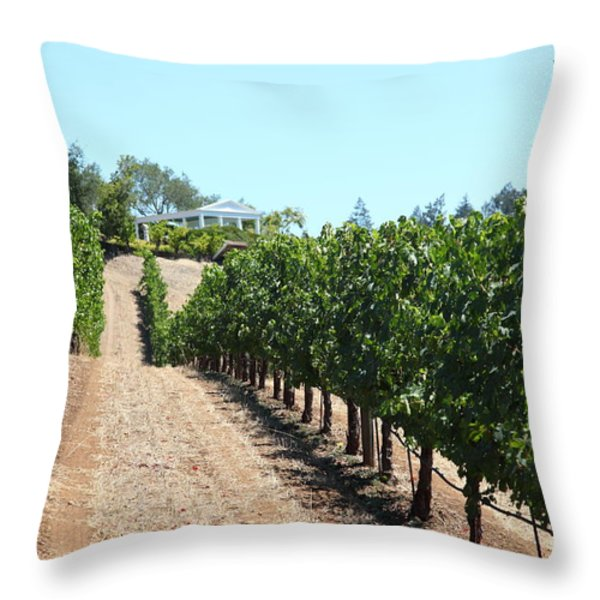 Sonoma Vineyards In The Sonoma California Wine Country 5D24507 Throw Pillow by Wingsdomain Art and Photography