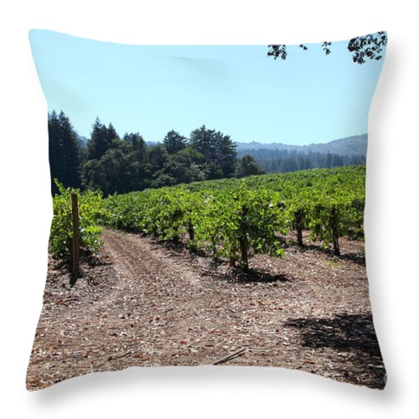 Sonoma Vineyards In The Sonoma California Wine Country 5d24511 Throw Pillow by Wingsdomain Art and Photography