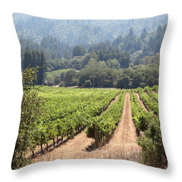 Sonoma Vineyards In The Sonoma California Wine Country 5d24515 Throw Pillow by Wingsdomain Art and Photography