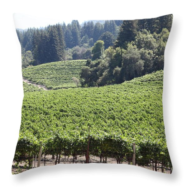 Sonoma Vineyards In The Sonoma California Wine Country 5d24539 Throw Pillow by Wingsdomain Art and Photography
