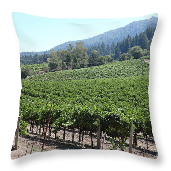 Sonoma Vineyards In The Sonoma California Wine Country 5d24541 Throw Pillow by Wingsdomain Art and Photography