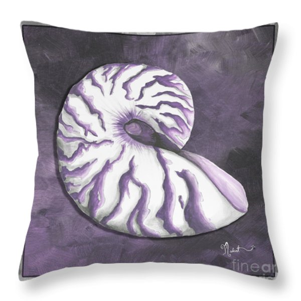 Sophisticated Coastal Art Original Sea Shell Purple Painting Royal Nautilus By Madart Throw Pillow by Megan Duncanson