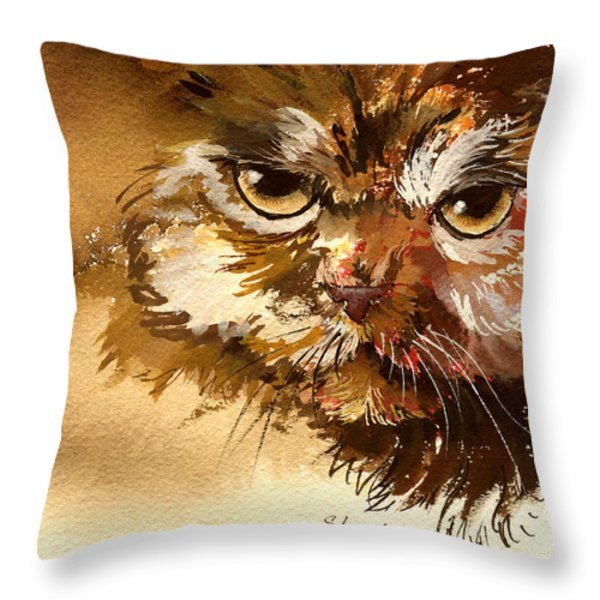 Sour Puss Throw Pillow by Sherry Shipley