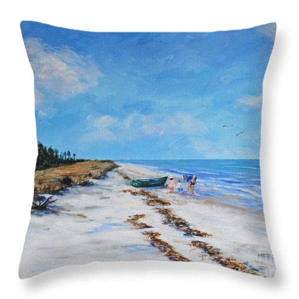 South Beach  Hilton Head Island Throw Pillow by Stanton Allaben