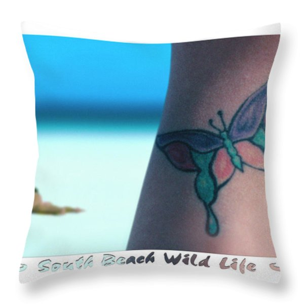 South Beach Wild Life Throw Pillow by Mike McGlothlen
