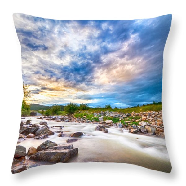 South Boulder Creek Sunset View Rollinsville Colorado Throw Pillow by James BO  Insogna