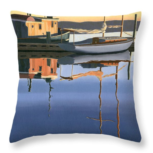 South Harbour Reflections Throw Pillow by Gary Giacomelli